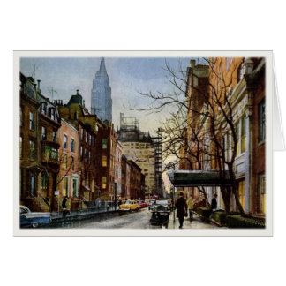 Greeting Card with Vintage New York Autumn Motive