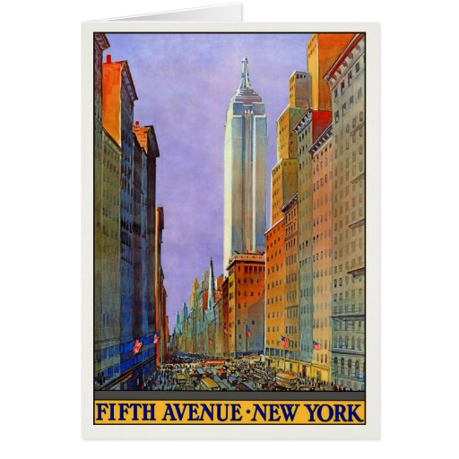 Greeting Card With Vintage New York Poster Print