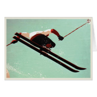 Greeting Card with Vintage Ski Bum Print