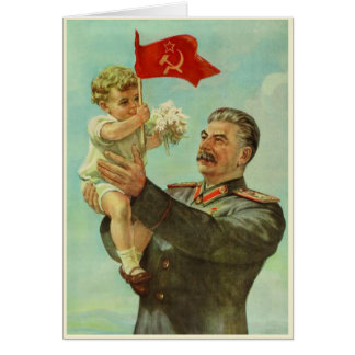 Greeting Card with Vintage Stalin Propaganda Print