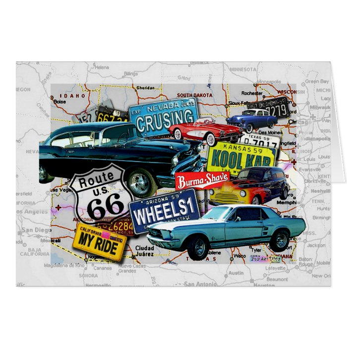 Greeting Cards - Route 66_Classic Cars