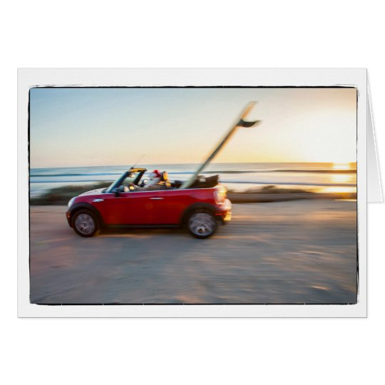 Greeting Inside Santa driving Mini beach SUP Card