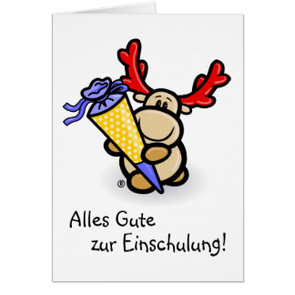 Greeting map for first day at school with moose greeting card