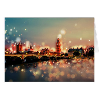 Greeting map. London, Tower Bridge, city, night Card