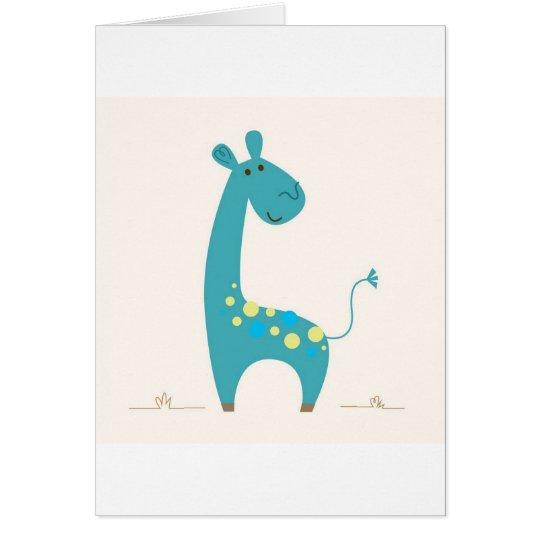 Greeting with cute hand-drawn Giraffe Card