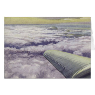 Greetingcard With Aeroplane Wing Over Clouds Greeting Card