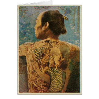 Greetingcard With Tattooed Man From 1920's Japan Card
