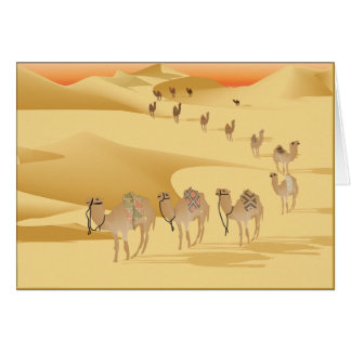 Greetings card Camels in desert