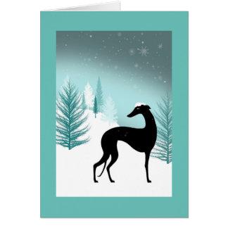 Greetings card Greyhound under snow