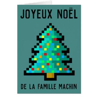 Greetings card Merry Christmas - pixel art fir