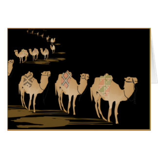 Greetings card Sahara night, caravan of camels