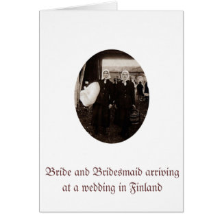 Greetings card with bride and her bridesmaid