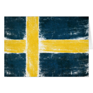 Greetings Card with Swedish Flag In Watercolor