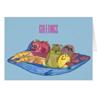 "Greetings - Cute ""Fruit Animals"" Illustration Card"
