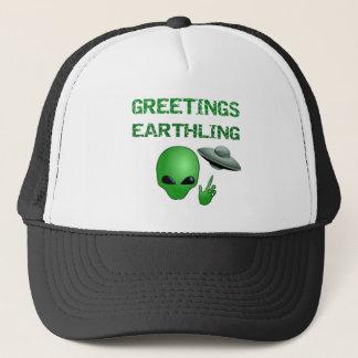 Greetings Earthling! Funny Alien UFO Baseball Cap