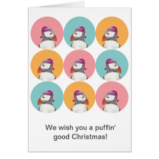 Greetings for Christmas from puffins - watercolors Card