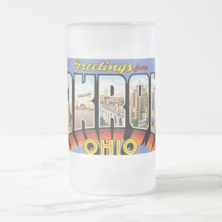 Greetings from Akron, Ohio! Frosted Glass Mug