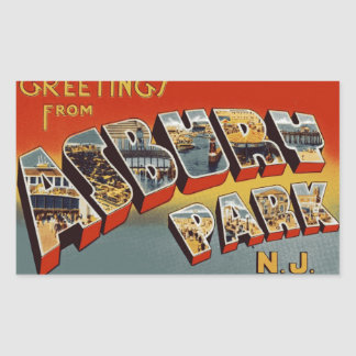 Greetings from Asbury Park NJ Rectangular Sticker