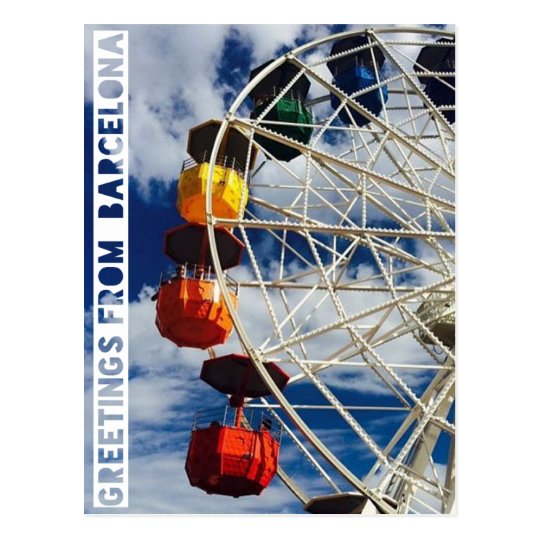 greetings from Barcelona, postard with ferris whee Postcard