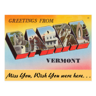Greetings from Barre Postcard