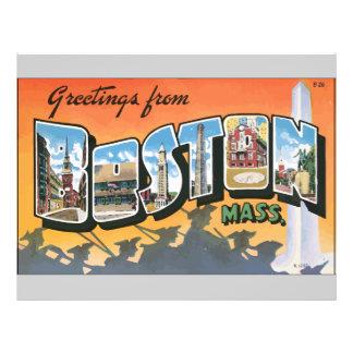 Greetings From Boston Mass., Vintage Custom Flyer