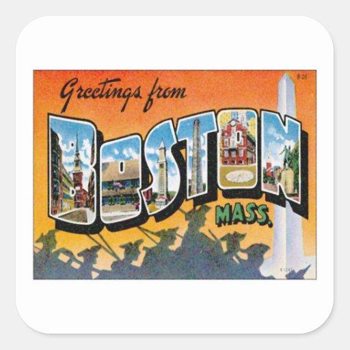 Greetings From Boston Massachusetts Square Sticker