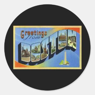 Greetings from Boston Massachusetts Classic Round Sticker