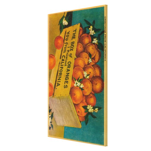 Greetings from California, Box of OrangesState Stretched Canvas Print