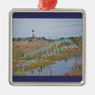 Greetings from Cape Hatteras OBX Silver-Colored Square Decoration