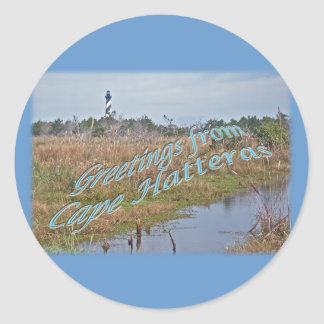 Greetings from Cape Hatteras OBX Round Sticker