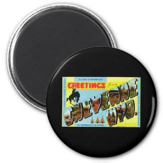 Greetings from Cheyenne Wyoming 6 Cm Round Magnet