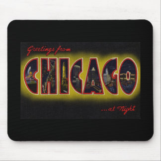 Greetings from Chicago Illinois At Night Mouse Pad