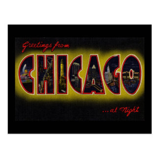 Greetings from Chicago Illinois At Night Postcard