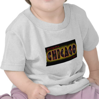 Greetings from Chicago Illinois At Night T Shirts