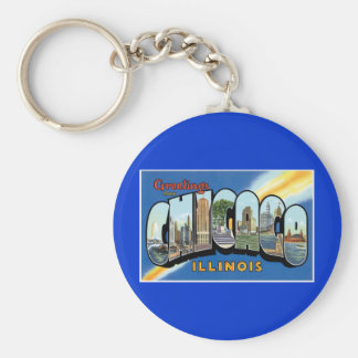 Greetings from Chicago, Illinois! Basic Round Button Key Ring