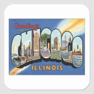 Greetings From Chicago Illinois Square Sticker