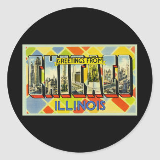 Greetings from Chicago Illinois Round Stickers
