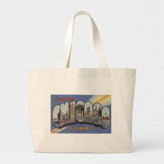 Greetings from Chicago Large Letter vintage theme Canvas Bags