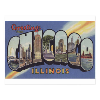 Greetings from Chicago Large Letter vintage theme Postcard