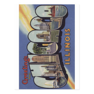 Greetings from Chicago Large Letter vintage theme Post Cards