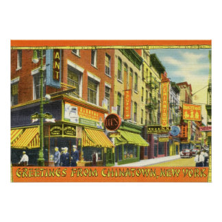 Greetings from Chinatown New York City Vintage Poster