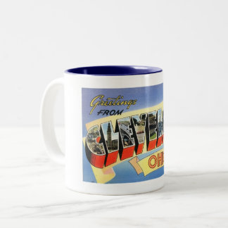 Greetings from Cleveland, Ohio Vintage Two-Tone Coffee Mug