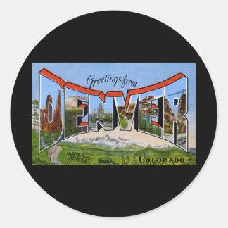 Greetings from Denver Colorado Round Sticker