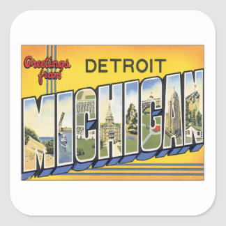 Greetings From Detroit Michigan Square Sticker