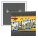 Greetings From Detroit Michigan, Vintage 15 Cm Square Badge