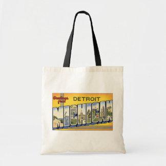 Greetings From Detroit Michigan, Vintage Tote Bag