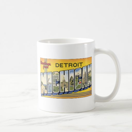 Greetings From Detroit Michigan, Vintage Basic White Mug