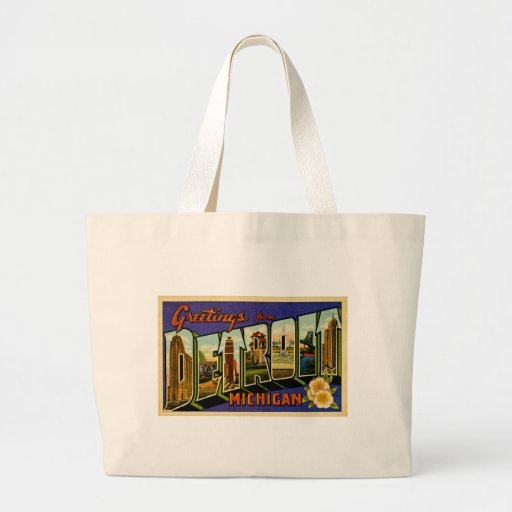 Greetings from Detroit Michigan Vintage Post Card Tote Bags