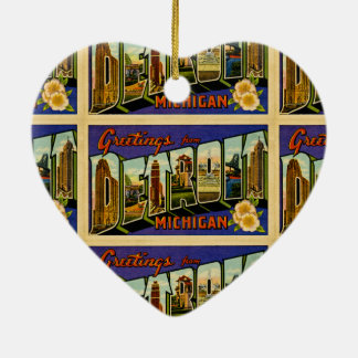 Greetings from Detroit Michigan Vintage Post Card Ceramic Heart Decoration