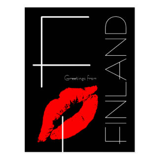 Greetings from Finland Red Lipstick Kiss Black Postcard